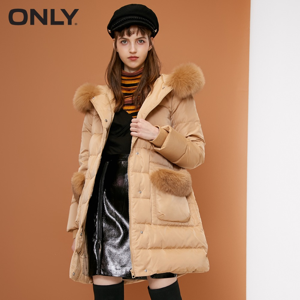 ONLY  womens' winter new fox fur collar long down jacket Detachable pocket trim Floral lining118312558-in Down Coats from Women's Clothing    1