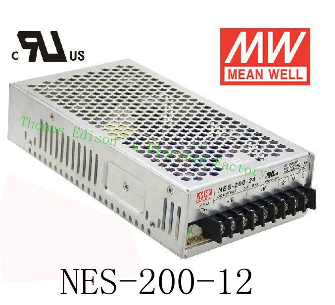 Original MEAN WELL power suply unit ac to dc power supply NES-200-12 200W 12V 17A MEANWELL nes series 12v 35w ul certificated switching power supply 85 264v ac to 12v dc
