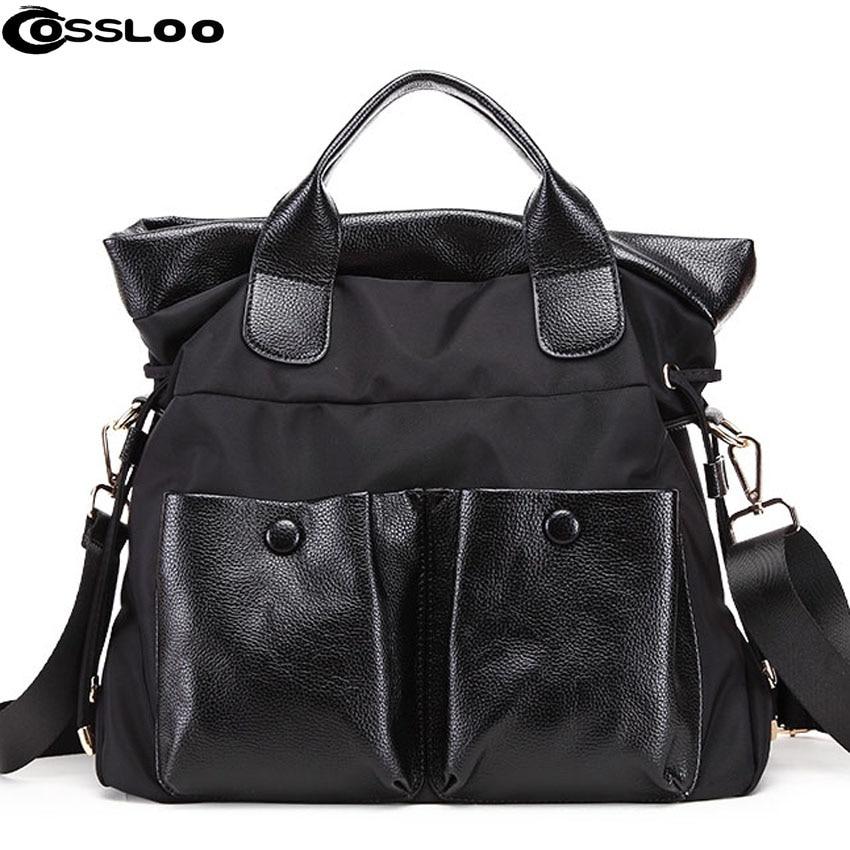 ФОТО COSSLOO Brand Women Handbag Oxford Nylon and Leather Large Capacity Shoulder Crossbody Bags Tote Bolsas Feminina Borse Female