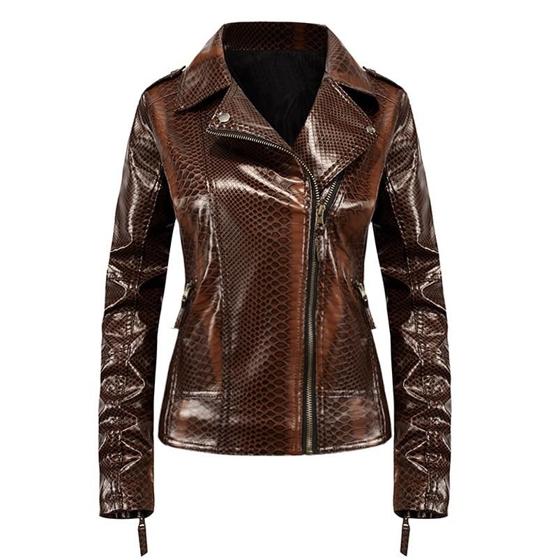 Womens Faux Leather Jacket Snake Skin Plus Size S-3XL Slim Moto Biker Jacket Autumn Winter Coat
