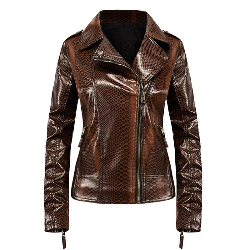 Womens Faux   Leather   Jacket Snake Skin Plus Size S-3XL Slim Moto Biker Jacket Autumn Winter Coat
