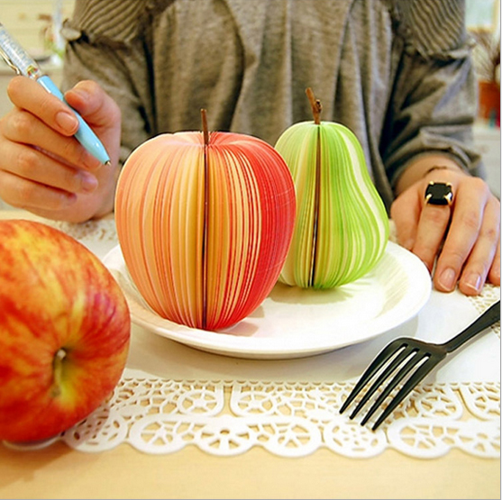 1PC Fruit Scrapbooking Note Memo Pads Portable Scratch Paper Notepads Post Sticky Apple Pear Shape OBN002