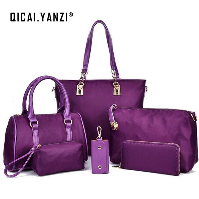 2017 6pcs/set Ladies Women Big Bag Nylon Handbags Messenger bags Small packets Personality Free Shipping High Quality P492 hmc492lp3e 492 qfn16 high quality