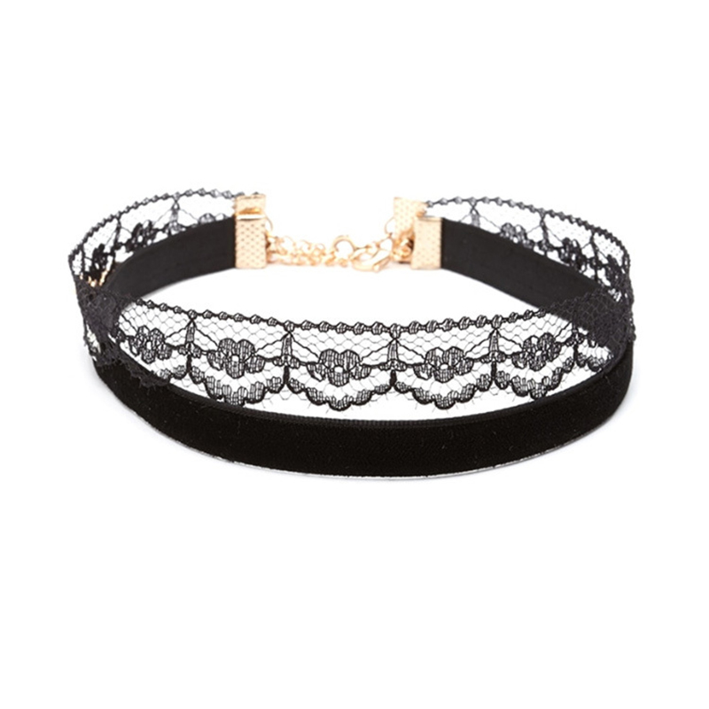 Fashion Charm Jewelery Black Two-layer Velvet & Lace Flower Perfect Combination Of The Unique Vintage Choker Necklace For Women