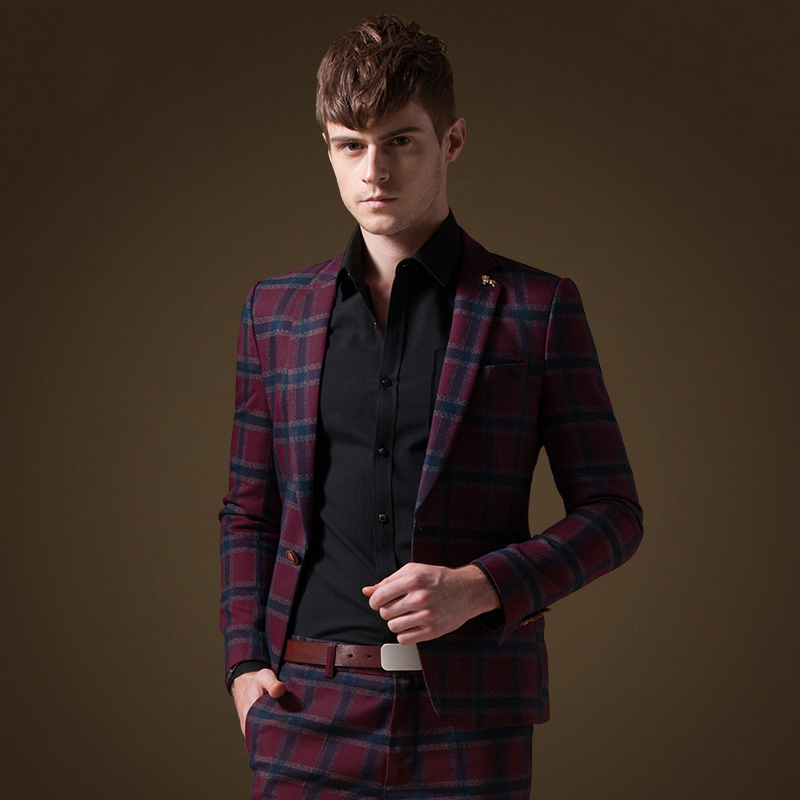 Men Suits Blazers Formal Wedding Business Casual Full Sleeve Slim Young Man High Quality Red Plaid White Blazers Fashion