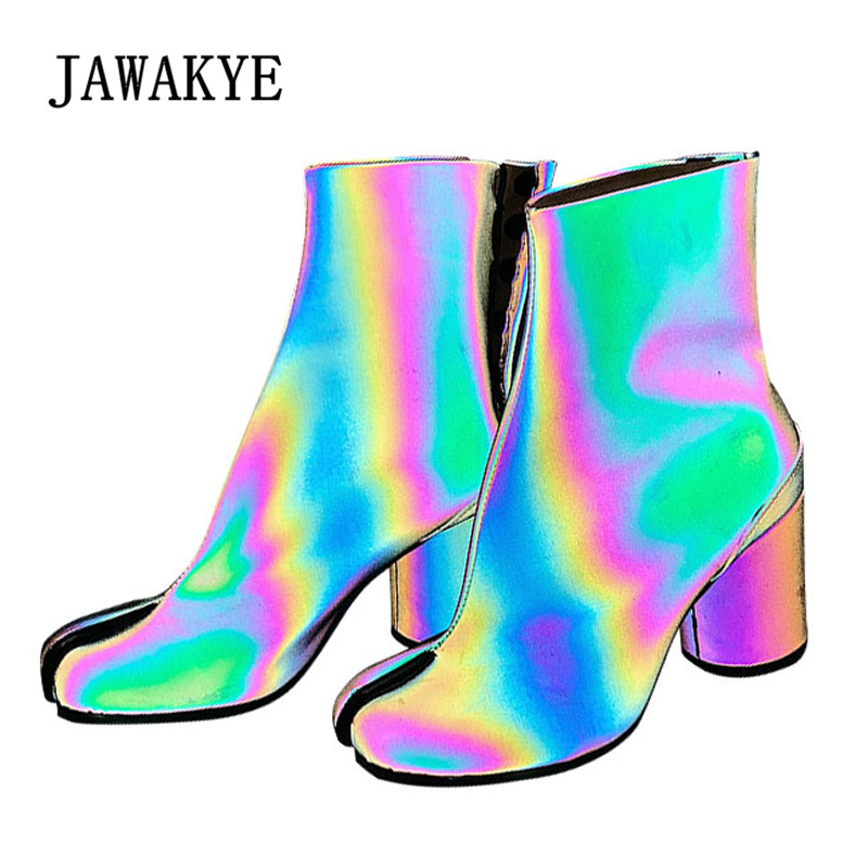 75a9fb876049 2019 Novelty Ankle Boots Women Split toed Fluorescent High Heel Boots Woman  Fashion Ninja Boots-in Ankle Boots from Shoes on Aliexpress.com