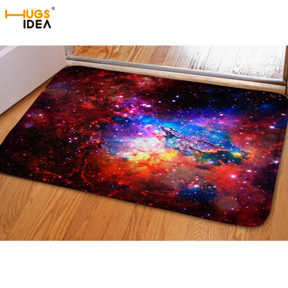 Hugsidea Fashion Space Stars Galaxy Carpet Funny Flannel