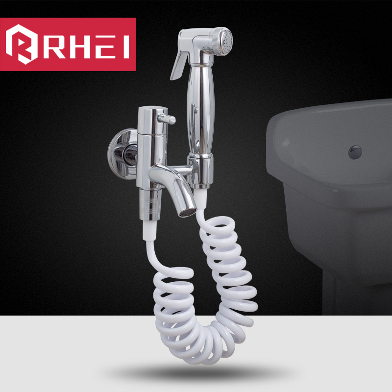 Chrome Copper Handheld Bidet Shower Toilet Portable Bidet Shower Set Two Out Single Cold Faucet Dual-use Bidet Spray hideep toliet bidet hand held portable bidet sprayer shattaf toilet shower spray set tap