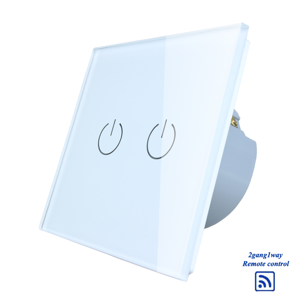 Rainbo Crystal Glass Panel Switch Eu Wall Remote Touch Using Fet Screen Light Switches 2gang1way For Led Lamp A1923w B
