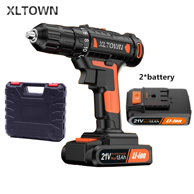 цена на XLTOWN the new21v Cordless Electric Drill Household Multifunction Electric Screwdriver 60 Nm Dramatic Household Electric Drill