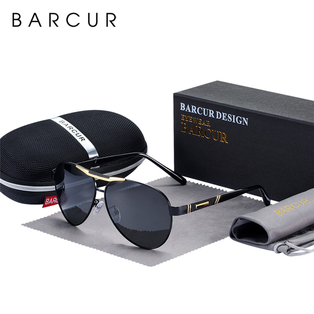 BARCUR Mens Sunglasses Polarized UV400 Protection Travel Driving Male Eyewear Oculos Male Accessories For Men