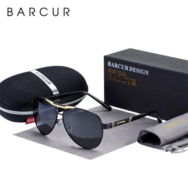 BARCUR degli uomini Occhiali Da Sole Polarizzati UV400 Protezione di Viaggio di Guida Maschio Occhiali da sole Eyewear Oculos Accessori Maschili Per Gli Uomini