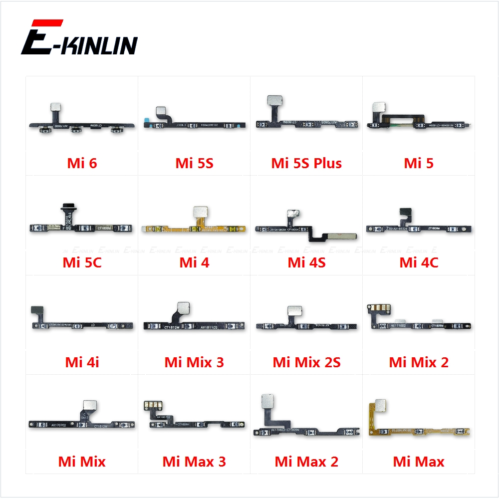 Power ON OFF Mute Switch Control Key Volume Button Flex Cable Parts For XiaoMi Mi 6 5 5C 5S Plus 4 4C 4i 4S Mix 2S Max 3 2