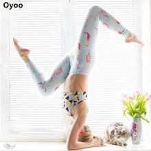 Oyoo Blue Mermaid Leggings Pilates High Waist Yoga Pants Cartoon Printed Workout Running Tights Jogging Gym Clothes For Women