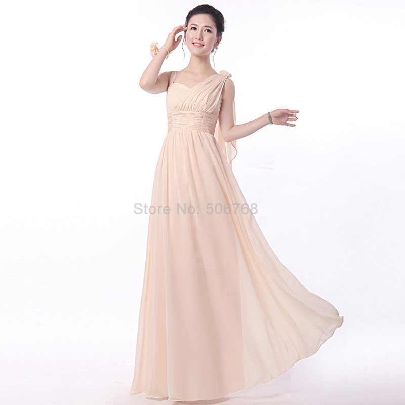 Cheap bridesmaid dress champagne color 2017 chiffon long for Champagne color wedding dresses