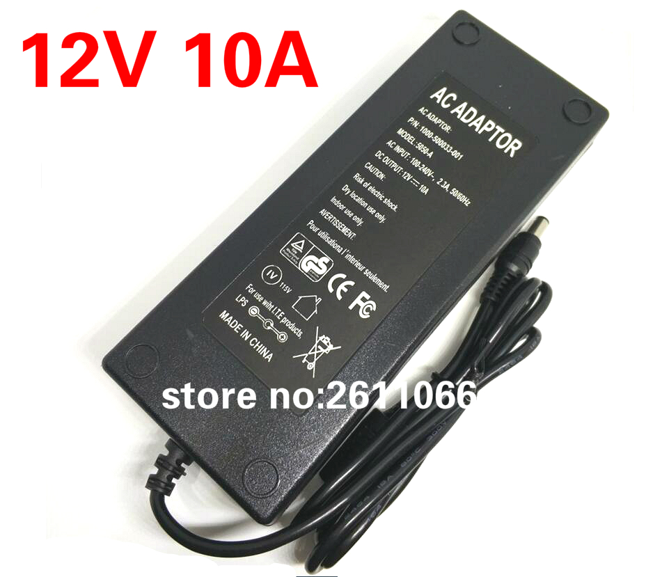 12V10A New AC 100V-240V Converter power Adapter DC 12V 10A Power Supply EU/US/UK Plug DC 5.5*2.5mm LED light power adapte