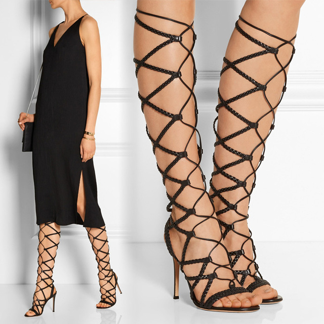 f25c48f44c6 2015 Summer Style Knee High Gladiator Sandals Lace-up High Heel Shoes Open  Toe Sexy Summer Boots