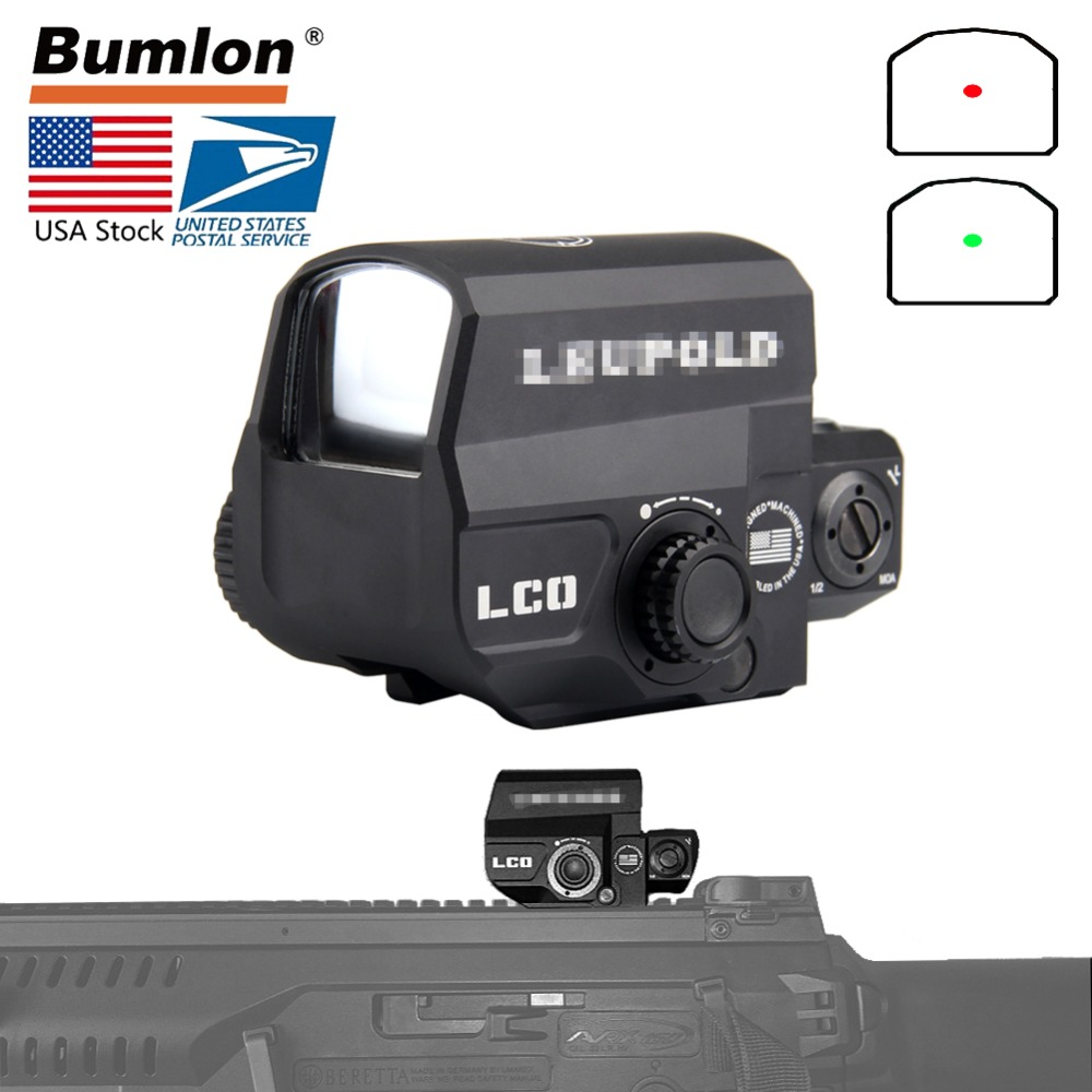 USA Shipping LCO LP Tactical Red Dot Sight Rifle Scope Hunting Reflex Sight With 20mm Rail Mount Holographic Sight HT5-0038