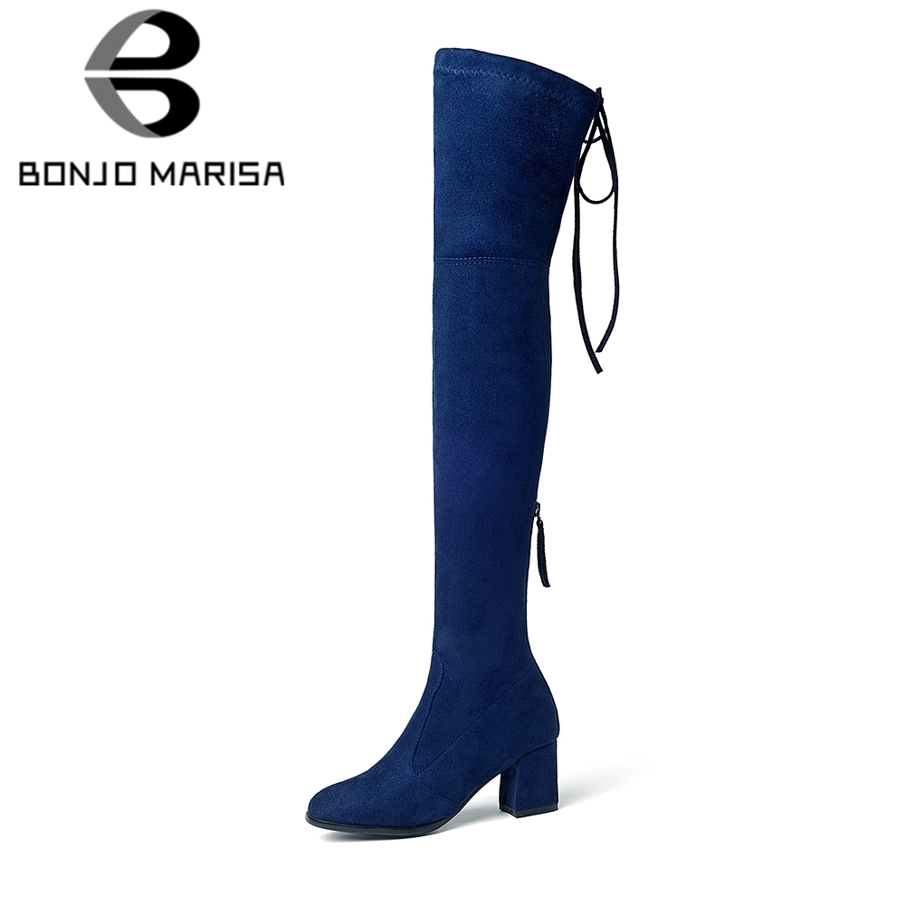 BONJOMARISA 2018 Trendy Style Over The Knee Boots Womens Shoes Big Size 34-43 Sexy Square Heels 9 Colors Boots Woman