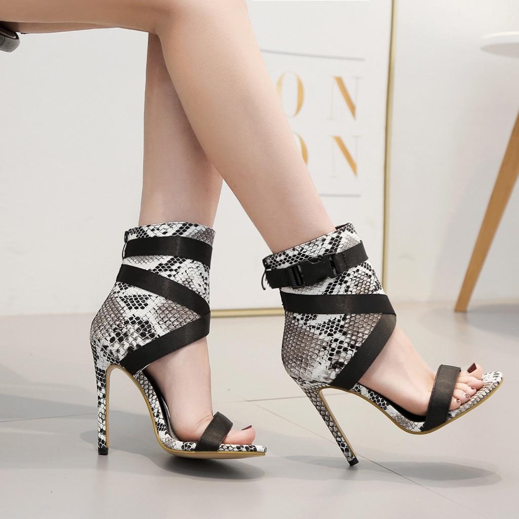 Heels Shoes Womens Fashion Snake Grain Pumps Cross Belt Party Shoe Thin High Heels Roman Leopard Sexy Sandals Luxury Design 2019 New Summer