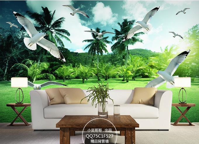 Custom 3D wallpaper for walls 3 d wall murals Tropical forest