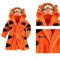 2015 бесплатная доставка новые девочки мальчиков мультфильм тигр ползунки пижамы банные халаты дети мягкое полотенце