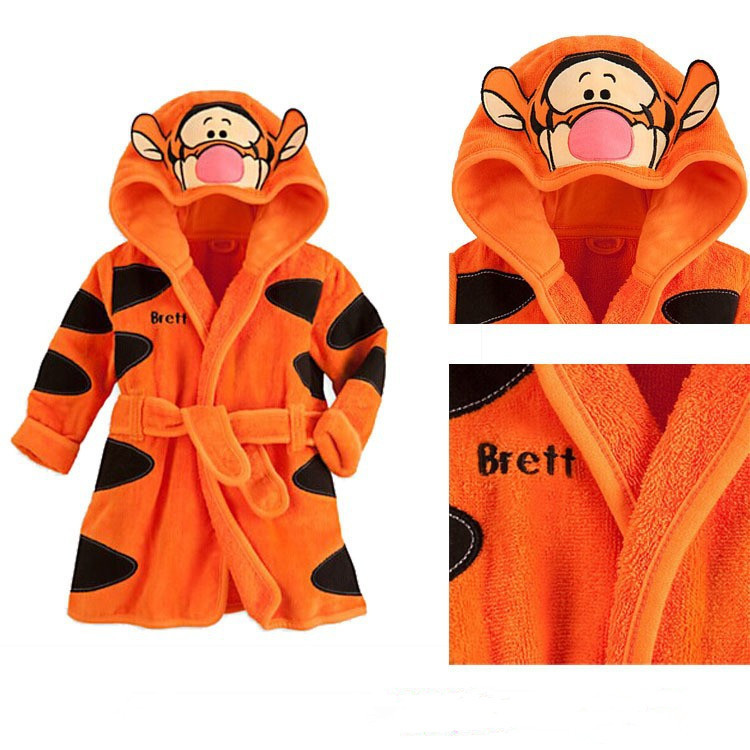 2015 free shipping new Baby Girls Baby Boys cartoon tiger romper Pajamas Bath robes kids soft Bath towel