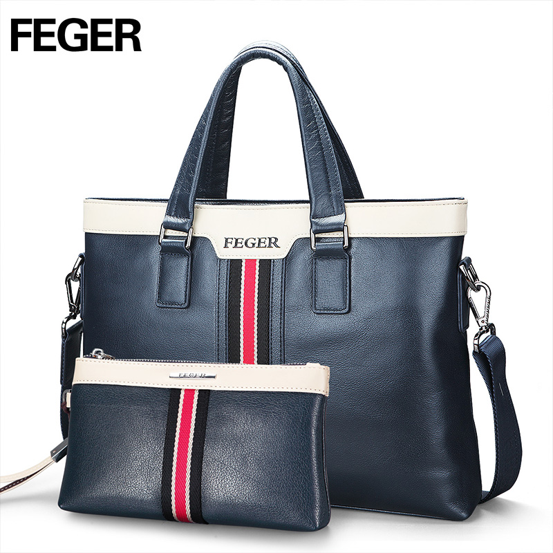 FEGER Fashion Leather Men Handbag Business Shoulder Bag Genuine Leather Messenger Bags Computer Laptop Handbag Bag Free Shipping feger nylon men bag business briefcase handbag shoulder bag daily use 13laptop bag free shipping