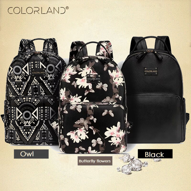 COLORLAND PU Nappy Bags Backpack Diaper Bag Waterproof Multifunctional Maternity Changing Bag Wet Infant Blosa For Mommy Daddy