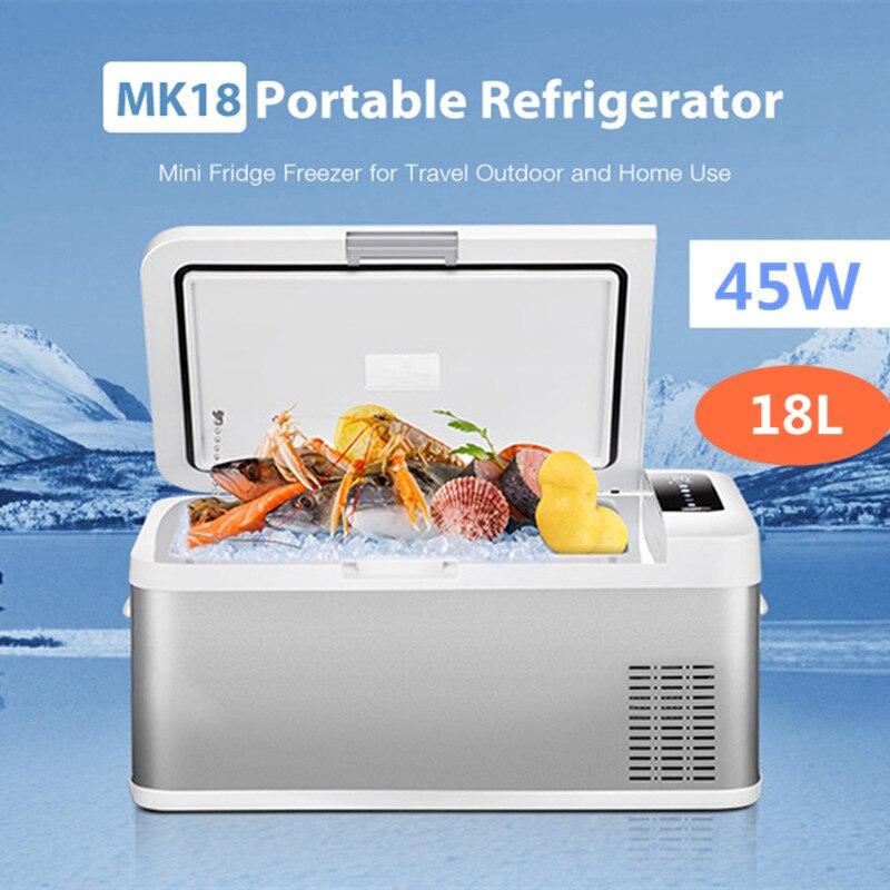 Voiture réfrigérateur congélateur refroidisseur 18L voiture réfrigérateur compresseur pour voiture maison pique-nique réfrigération congélateur faible bruit Port USB