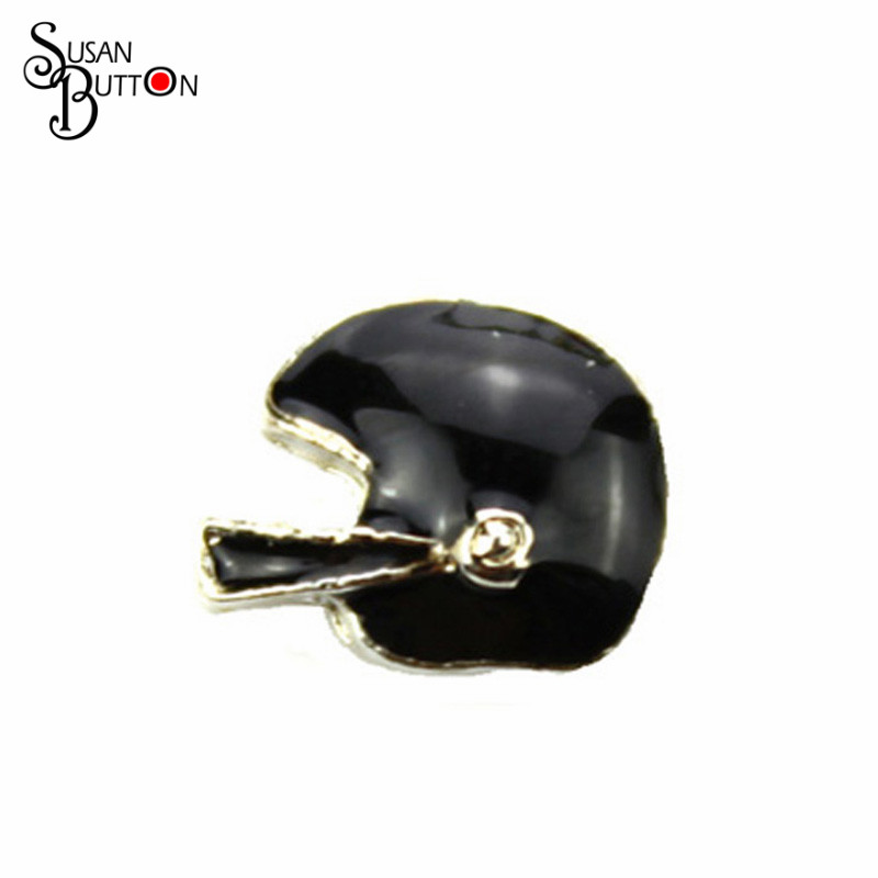 Hot sale floating charm for living glass floating locket, black Football helmet floating charm SJFC2035