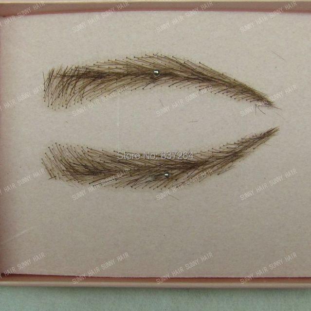 whole sale hand made human hair false eyebrow 013 dark brown color invisible net 4