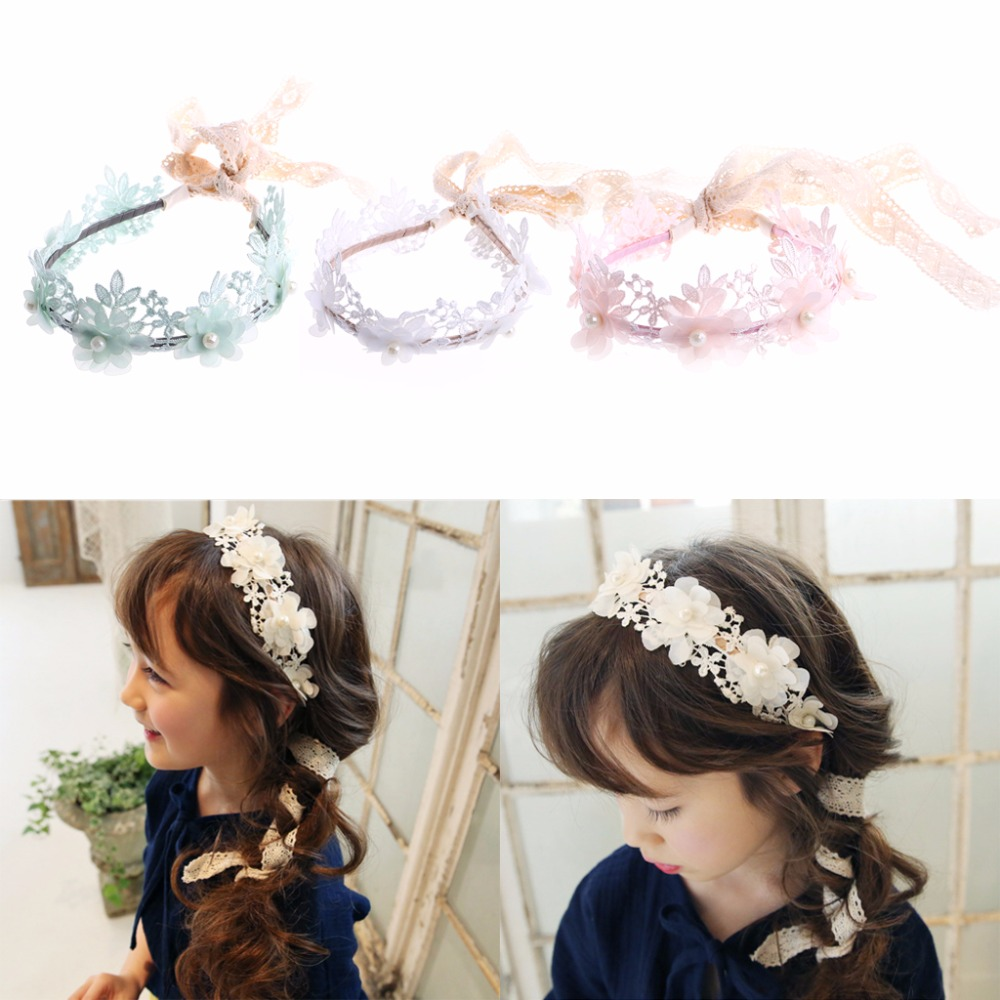 New Girl Kid Retro Hair Band Headband Elegance Lace Flower Hairband White, Green, Pink палантин piazza italia piazza italia pi022gwydp57