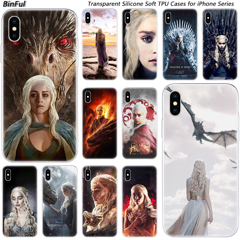 Daenerys Targaryen Game of Throne Silicone Fashion Case for Apple iPhone 11 Pro XS MAX XR X 7 8 Plus 6 6s Plus 5 5C 5S SE Cover(China)