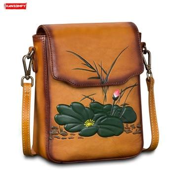 2019 new retro genuine leather women shoulder bag flowers female first layer cowhide handbag mini small Messenger crossbody bags