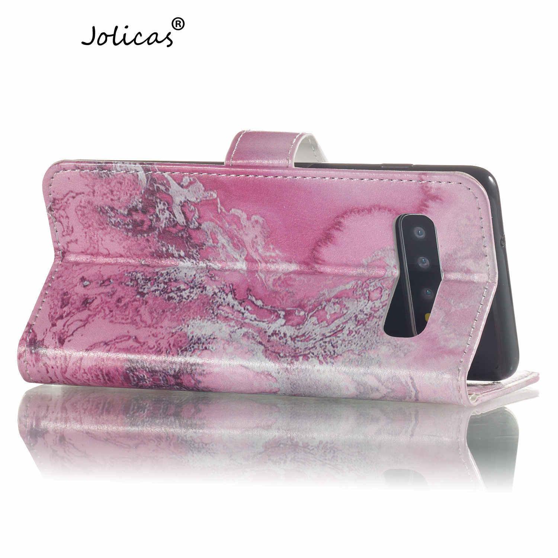 Rose Emas Kantong Ponsel untuk Samsung S7 Edge Flip Case Buku S Cove Samsung Galaxy S5 S6 Edge S7 s8 Plus S9 S10 5G Lite