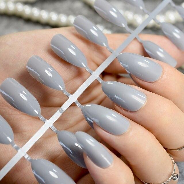 24pcsset Candy Grey Stiletto Nails Almond Design Medium Sharp