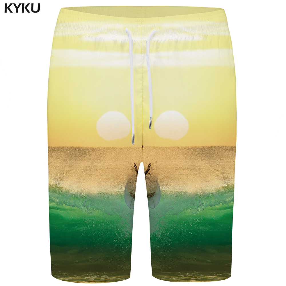 KYKU Wave   Board     Shorts   Men Green Sky   Short   Pants Colorful 3d Print   Shorts   Psychedelic Phantom Mens   Shorts   Summer Boardshorts New