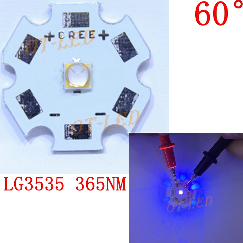1PCS 5W UV/Ultra Violet LG3535 365nm led 60 degree Viewing Angle High Power LED Emitter Diode For UV Curable Ink/Security check 10w 12w ultra violet uv 365nm 380nm 395nm high power led emitting diode on 20mm cooper star pcb