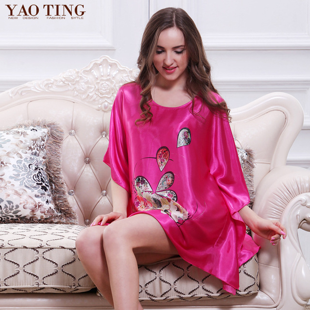 01dcf683e33c New Plus Size Women Nightgown Night Dress Nightwear Sexy Silk Satin  Nightdress Night Gown Robes Bathrobe