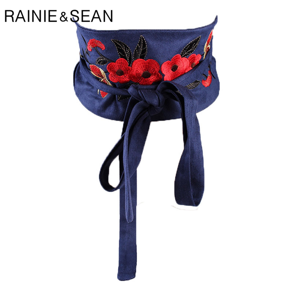 RAINIE SEAN Velvet Women Belt Blue Embroidery Wide Cummerbund Belt For Dresses Ladies Corset Self Tie Flower Belt Women