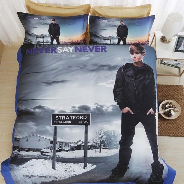 Dream Ns Justin Bieber Bedding Set Soft Fiber Flat Sheet Duvet Cover Sets Famous Singer King
