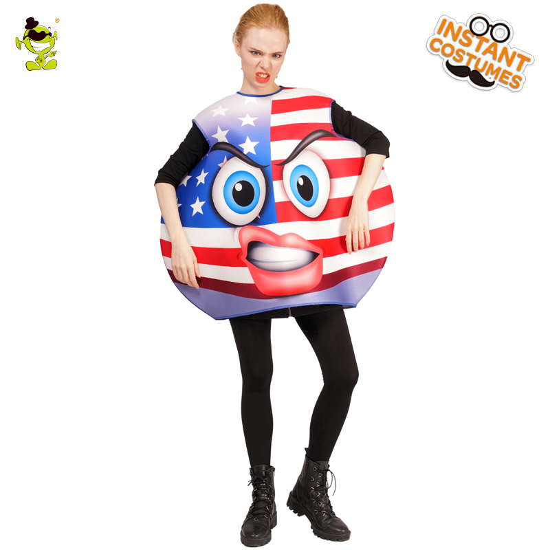 Hot Sale Halloween Ladies Fighting Face Emoji Costume Cool National Flag Emoji Jumpsuit For Carnival Party Adults Suit