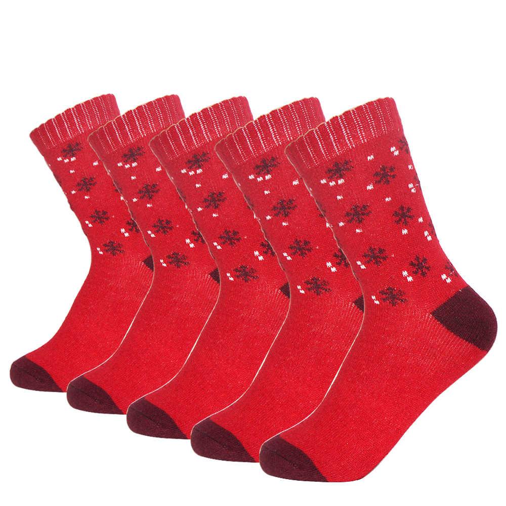 5 ペア/ロット女性秋冬暖かいラビットウールソックス新品質厚いマルチ小スノーフレークカラフルな Lagre ぬくもり Meias 靴下