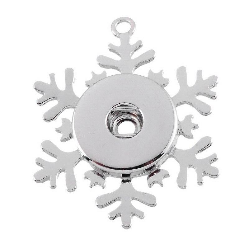 Hot sale Snowflake Snap Button Pendants Necklace fit DIY 18MM/20MM snap buttons fittings christmas wholesale XL0051