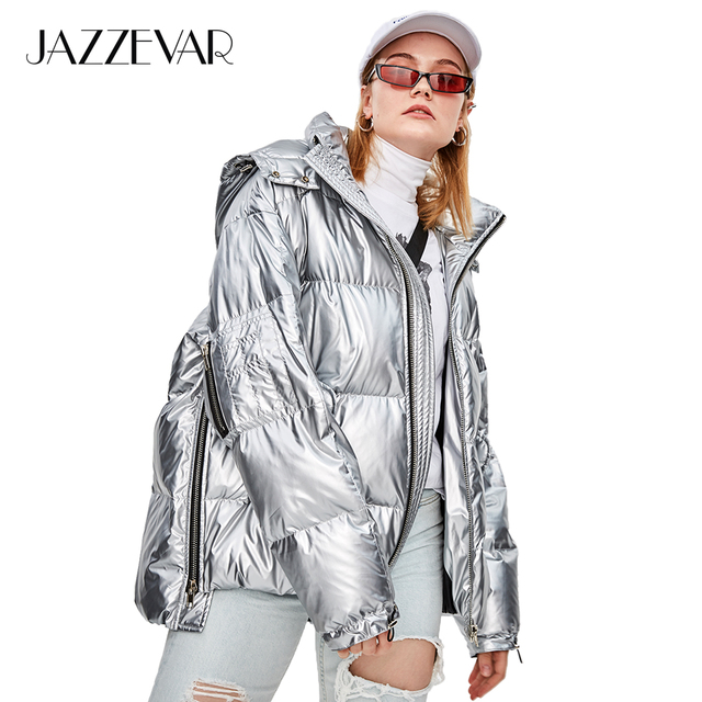 JAZZEVAR 2018 Winter New High Fashion Street Womens Edgy Sliver Short Down Jacket Cool Girls Zipper Hooded Down Coat Outerwear