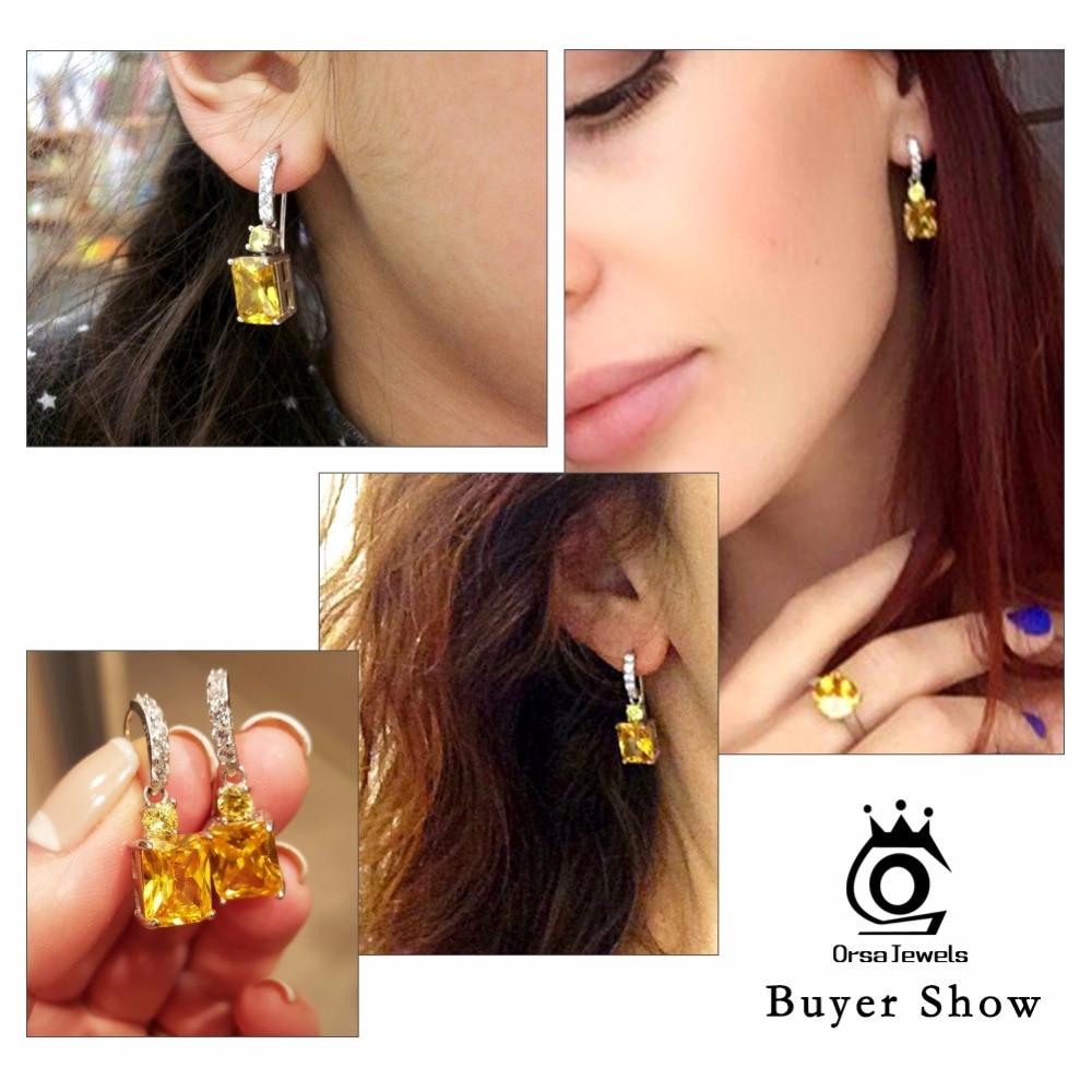 ORSA JEWELS Store gule sten Zirkon øreringe smukke dingle øreringe - Mode smykker - Foto 6