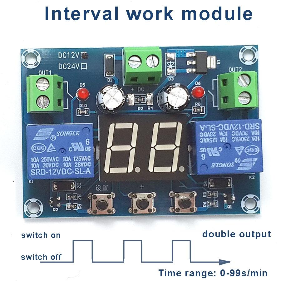 0-99 s/Intervalo de minutos integrado Módulo de Trabalho Dupla Saída Separada, 0-99 s/min Circular Trabalho Intervalo Módulo, 12 V 100-240 V