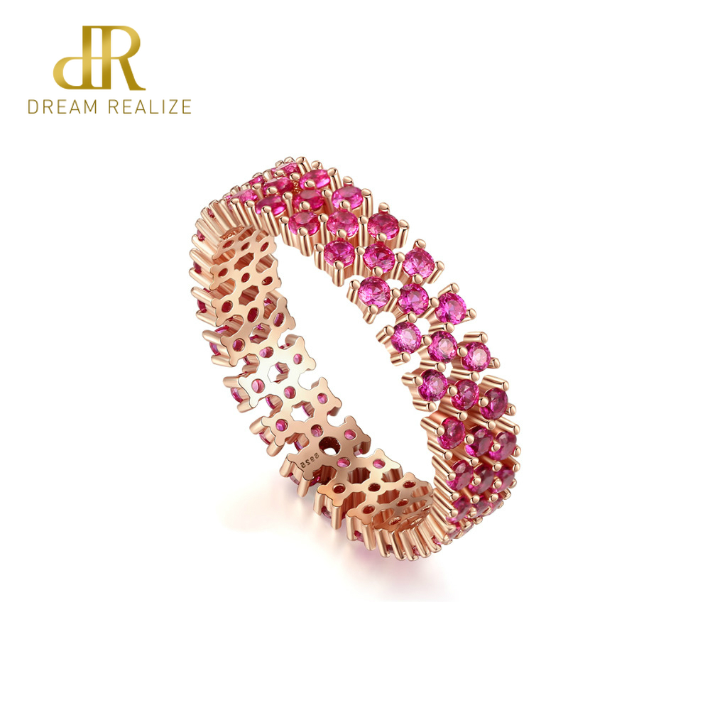 DR Genuine Hollow 925 Sterling Silver Eternity Pink Rings For Women Engagement Wedding Fine Jewelry Round Topaz Gemstone Anillos