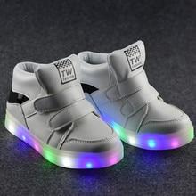 2017 Новая Коллекция Весна Мода Мальчики Светящиеся Кроссовки Детей Высокий Свет Спортивные Shoes Девушки LED Подсветкой Кроссовки Для Детей 21-30